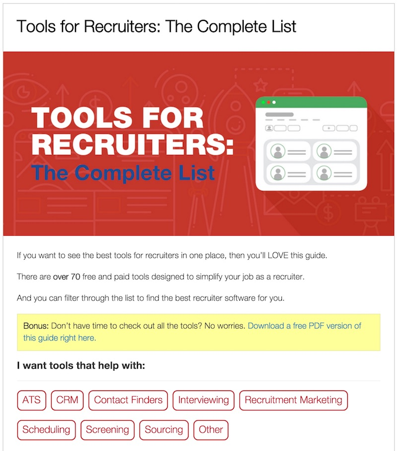 Tools For Recruiters - The Complete List Screenshot