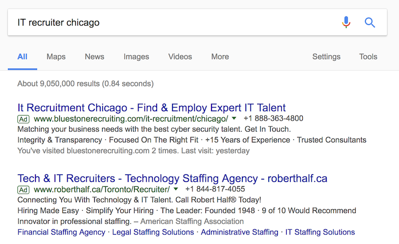 "Google Search Results for ""IT recruiter chicago"""