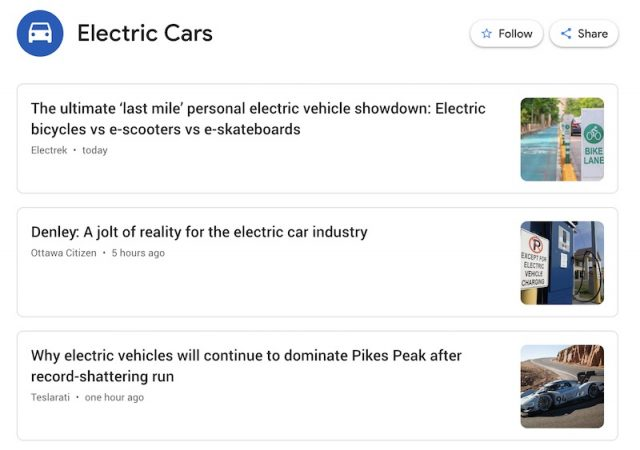 "Google News Alert for ""Electric Cars"""