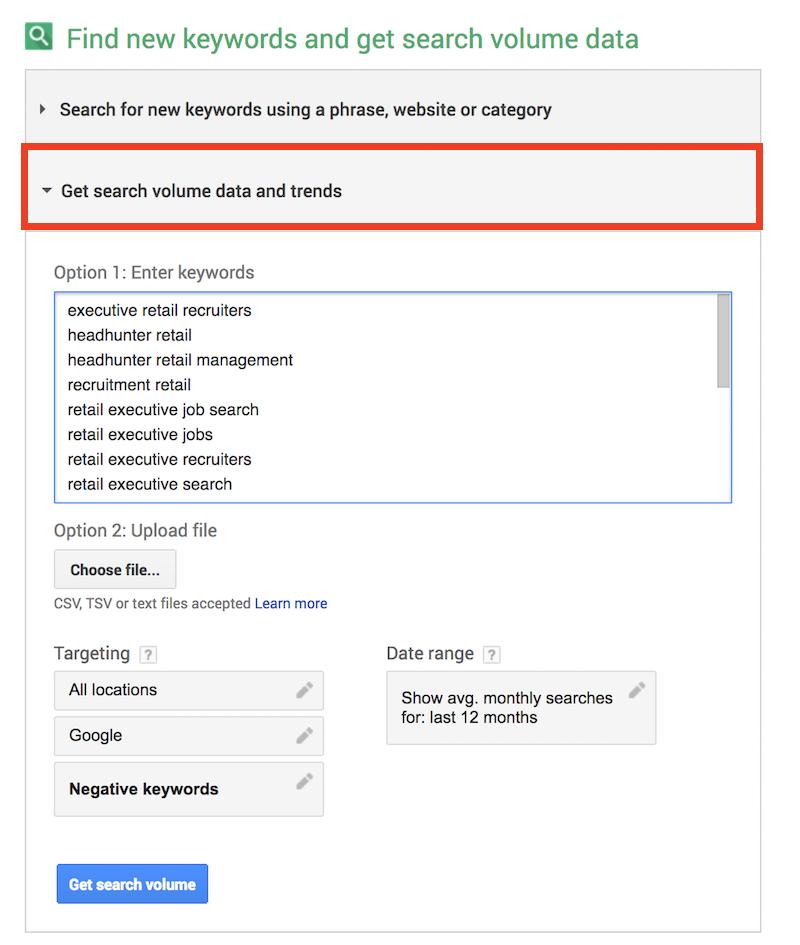 Google Keyword Planner Menu 2