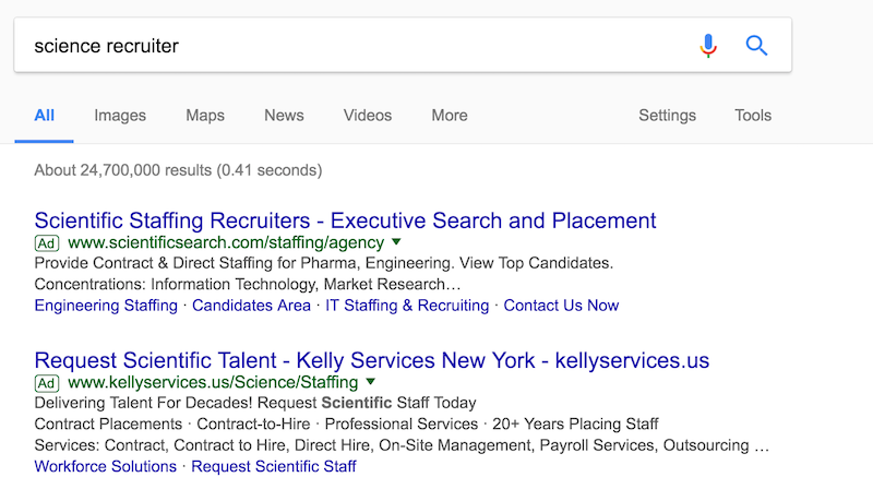 Science Recruiter Search