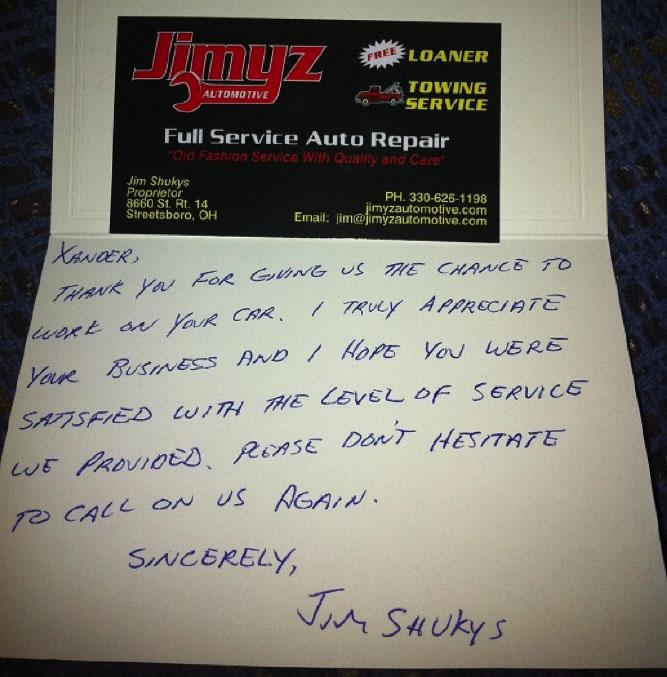 A note from a car mechanic to a client