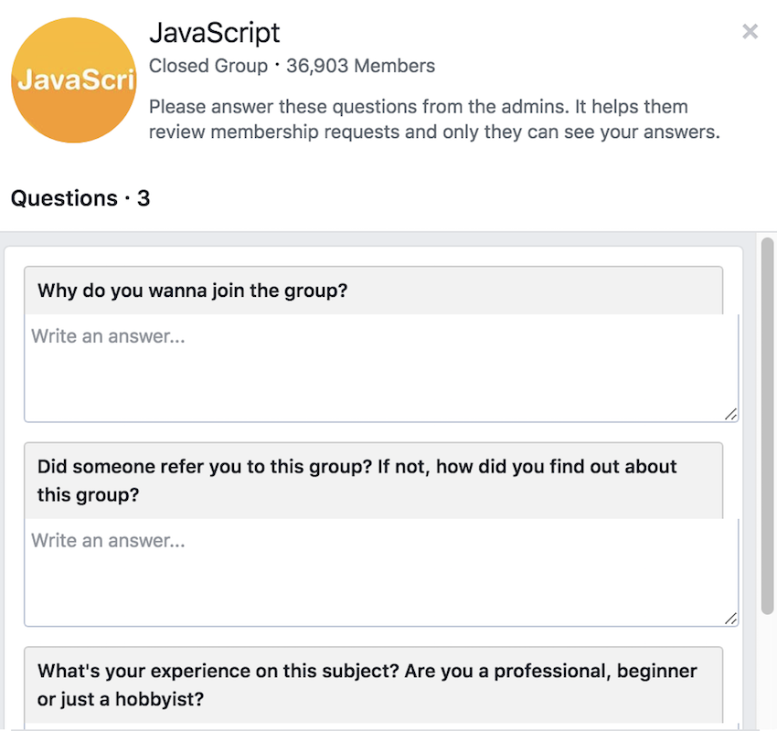 Facebook group admission questions